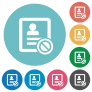 Contact disabled flat white icons on round color backgrounds - Contact disabled flat round icons