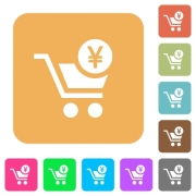 Checkout with Yen cart flat icons on rounded square vivid color backgrounds. - Checkout with Yen cart rounded square flat icons