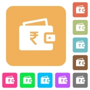 Indian Rupee wallet flat icons on rounded square vivid color backgrounds. - Indian Rupee wallet rounded square flat icons