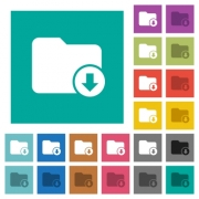 Move down directory multi colored flat icons on plain square backgrounds. Included white and darker icon variations for hover or active effects. - Move down directory square flat multi colored icons