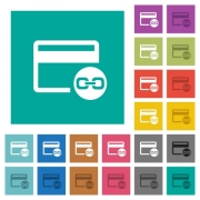 Attach credit card to account multi colored flat icons on plain square backgrounds. Included white and darker icon variations for hover or active effects. - Attach credit card to account square flat multi colored icons