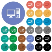 Desktop computer multi colored flat icons on round backgrounds. Included white, light and dark icon variations for hover and active status effects, and bonus shades on black backgounds. - Desktop computer round flat multi colored icons