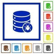 Database bug flat color icons in square frames on white background - Database bug flat framed icons