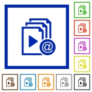Send playlist via email flat color icons in square frames on white background - Send playlist via email flat framed icons
