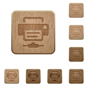 Network printer on rounded square carved wooden button styles - Network printer wooden buttons
