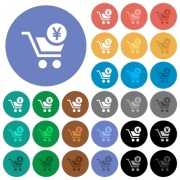 Checkout with Yen cart multi colored flat icons on round backgrounds. Included white, light and dark icon variations for hover and active status effects, and bonus shades on black backgounds. - Checkout with Yen cart round flat multi colored icons
