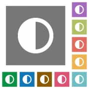 Contrast control flat icons on simple color square backgrounds - Contrast control square flat icons