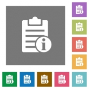 Note info flat icons on simple color square backgrounds - Note info square flat icons