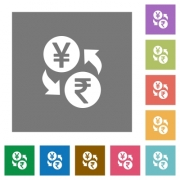 Yen Rupee money exchange flat icons on simple color square backgrounds - Yen Rupee money exchange square flat icons