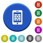 Smartphone firewall round color beveled buttons with smooth surfaces and flat white icons - Smartphone firewall beveled buttons
