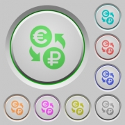 Euro Ruble money exchange color icons on sunk push buttons - Euro Ruble money exchange push buttons