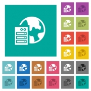 Web hosting multi colored flat icons on plain square backgrounds. Included white and darker icon variations for hover or active effects. - Web hosting square flat multi colored icons