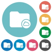 Cloud directory flat white icons on round color backgrounds - Cloud directory flat round icons