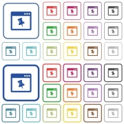 Application pin color flat icons in rounded square frames. Thin and thick versions included. - Application pin outlined flat color icons