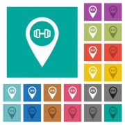 Gym GPS map location multi colored flat icons on plain square backgrounds. Included white and darker icon variations for hover or active effects. - Gym GPS map location square flat multi colored icons