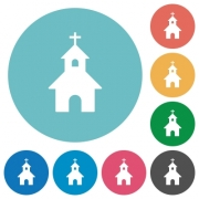 Curch flat white icons on round color backgrounds - Curch flat round icons