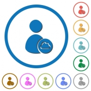 Cloud user account management flat color vector icons with shadows in round outlines on white background - Cloud user account management icons with shadows and outlines