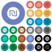 Israeli new Shekel sticker multi colored flat icons on round backgrounds. Included white, light and dark icon variations for hover and active status effects, and bonus shades on black backgounds. - Israeli new Shekel sticker round flat multi colored icons