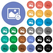 Image warning multi colored flat icons on round backgrounds. Included white, light and dark icon variations for hover and active status effects, and bonus shades on black backgounds. - Image warning round flat multi colored icons