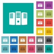 Server hosting multi colored flat icons on plain square backgrounds. Included white and darker icon variations for hover or active effects. - Server hosting square flat multi colored icons