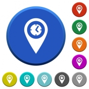 Arrival time GPS map location round color beveled buttons with smooth surfaces and flat white icons - Arrival time GPS map location beveled buttons