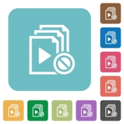 Disabled playlist white flat icons on color rounded square backgrounds - Disabled playlist rounded square flat icons