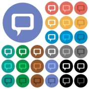 Comment multi colored flat icons on round backgrounds. Included white, light and dark icon variations for hover and active status effects, and bonus shades on black backgounds. - Comment round flat multi colored icons