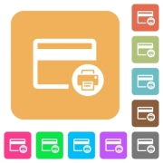 Credit card print record flat icons on rounded square vivid color backgrounds. - Credit card print record rounded square flat icons - Large thumbnail