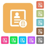 lock contact flat icons on rounded square vivid color backgrounds. - lock contact rounded square flat icons - Large thumbnail