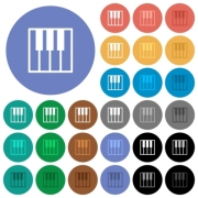 Piano keyboard multi colored flat icons on round backgrounds. Included white, light and dark icon variations for hover and active status effects, and bonus shades on black backgounds. - Piano keyboard round flat multi colored icons