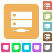 Network drive flat icons on rounded square vivid color backgrounds. - Network drive rounded square flat icons