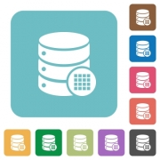 Database table cells white flat icons on color rounded square backgrounds - Database table cells rounded square flat icons