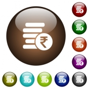 Indian Rupee coins white icons on round color glass buttons - Indian Rupee coins color glass buttons - Large thumbnail