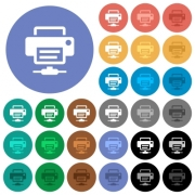 Network printer multi colored flat icons on round backgrounds. Included white, light and dark icon variations for hover and active status effects, and bonus shades on black backgounds. - Network printer round flat multi colored icons