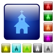 Curch icons in rounded square color glossy button set - Curch color square buttons