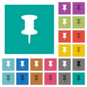 Push pin multi colored flat icons on plain square backgrounds. Included white and darker icon variations for hover or active effects. - Push pin square flat multi colored icons