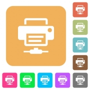 Network printer flat icons on rounded square vivid color backgrounds. - Network printer rounded square flat icons