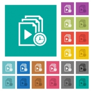 Playlist playing time multi colored flat icons on plain square backgrounds. Included white and darker icon variations for hover or active effects. - Playlist playing time square flat multi colored icons