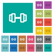 Barbell multi colored flat icons on plain square backgrounds. Included white and darker icon variations for hover or active effects. - Barbell square flat multi colored icons