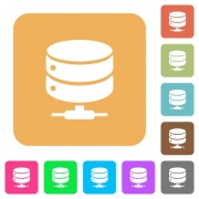 Network database flat icons on rounded square vivid color backgrounds. - Network database rounded square flat icons