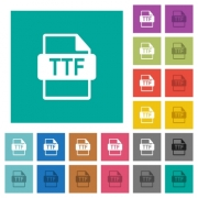 TTF file format multi colored flat icons on plain square backgrounds. Included white and darker icon variations for hover or active effects.