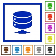 Network database flat color icons in square frames on white background - Network database flat framed icons
