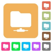 Network folder flat icons on rounded square vivid color backgrounds. - Network folder rounded square flat icons
