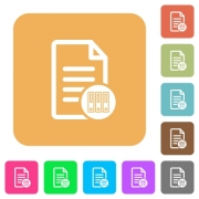 Archive document flat icons on rounded square vivid color backgrounds. - Archive document rounded square flat icons - Large thumbnail
