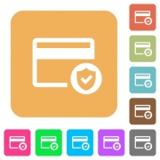 Safe credit card transaction flat icons on rounded square vivid color backgrounds. - Safe credit card transaction rounded square flat icons - Large thumbnail