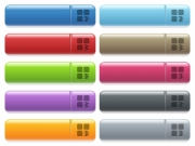 Zip component engraved style icons on long, rectangular, glossy color menu buttons. Available copyspaces for menu captions. - Zip component icons on color glossy, rectangular menu button