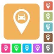 Vehicle GPS map location flat icons on rounded square vivid color backgrounds. - Vehicle GPS map location rounded square flat icons - Large thumbnail