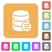 Database options flat icons on rounded square vivid color backgrounds. - Database options rounded square flat icons - Large thumbnail