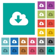 Cloud download multi colored flat icons on plain square backgrounds. Included white and darker icon variations for hover or active effects. - Cloud download square flat multi colored icons