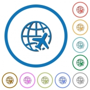 World travel flat color vector icons with shadows in round outlines on white background - World travel icons with shadows and outlines